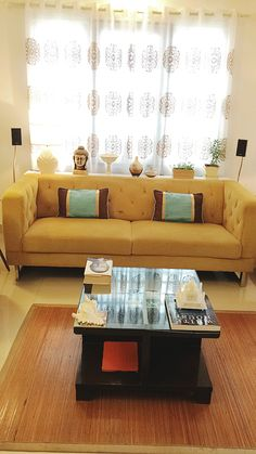 living room, Warm living room interior with Diwan seating & dinning ...