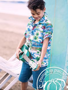 tropical all over print shirt with Patch basic jean shorts.    Pumpkin Patch Summer fashion collection for boy.