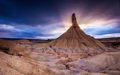 Bardenas Reales, Spain - The paleness of the sands just makes the beauty of the sky stand out. Andrea Nahles, Places Around The World, Around The Worlds, Desert Dream, Mountain Sunset, Best Computer, Sunset Wallpaper, Landscape Wallpaper, Hd Wallpaper