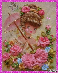 This is so sweet - love the colourful flowers and pretty image! Gif Animé, Animated Gif, Beautiful Flowers, Beautiful Pictures, Flowers Gif, Gifs, Gif Photo, Happy Birthday Messages, Angel Pictures