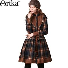 Artka Women's Retro Ethnic Patchwork Drawcord Stand Collar Cinched Waist Handmade Crochet Long Sleeve Coat Dress