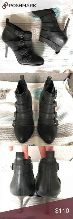 COACH Buckled Ankle Booties 100% Authentic COACH Ankle booties! EUC!  🔹100% Leather  🔹color: vintage charcoal gray  🔹size: 8.5  🔹heel height: approx. 4 in.  🔹condition: Excellent! Worn only a few times, and look good as new Coach Shoes Ankle Boots & Booties