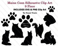 Maine Coon Silhouette Clip Art Set 9 Piece Cat by RoyalPixels