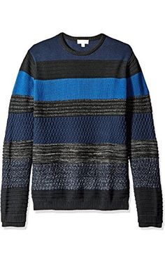 Calvin Klein Men's Mohair Texture Stripe Crew Neck Sweater, Black/Blue Combo, X-LARGE ❤ Calvin Klein Men's Collections