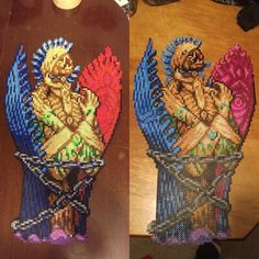 Anima in Perler beads by perler_purrs (Aaron) on the left and @crazyperlergirl on the right.