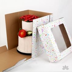 Now you can transfer your two tiered or 3D cakes safely with this Tall Window Cake Box. The window allows you to see your beautiful cake creations, while the added height keeps your creation safe and