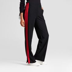 Women's Wide Leg Track Pants - Who What Wear Black XS