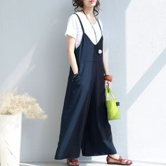 Solid Loose Women Zipper Blue Overalls