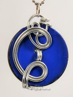 Blue button aluminum pendant