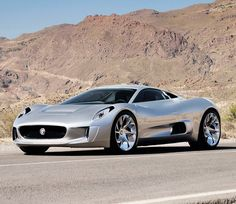 Jaguar C-X75 -- And it's an all-electric car that produces 778 horsepower through four electric motors and the batteries driving these motors are recharged using two diesel-fed micro gas turbines instead of a conventional 4-stroke engine! Crazy concept-car!
