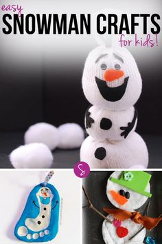 Easy Snowman Crafts for Kids: We can't wait to do the snowman sock craft and we're going to hang a Olaf salt dough ornament on our Christmas Tree this year!