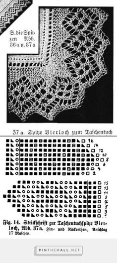 "The Seeded Field symbol. (""Bierloch"" knitted lace edging for handkerchief) from an antique lace knitting book by Marie Niedner. Lace Knitting Stitches, Knitting Books, Knitting Charts, Knitting Patterns, Crochet Sock Pattern Free, Crochet Lace Edging, Knit Crochet, Knit Edge, Hippie Crochet"