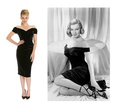 Fatale Black Velvet Pencil Dress by The Pretty Dress Company. Created using a stretch velvet in a decadent hue, features a striking off the shoulder boned bodice with shoulder gathering detail and a fully lined pencil skirt with side gathering detail. The ultimate show stopping design.