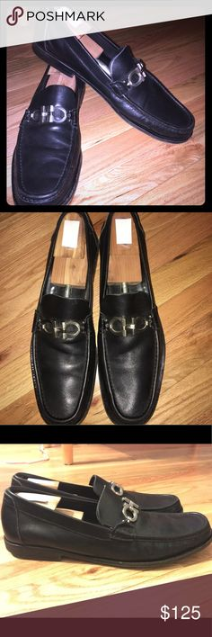 """Ferragamo Men's Leather Loafers Ferragamo Men's Loafers Size: 13 Color: Black Material: Grained Leather Styled with the brand's signature Double Gancini hardware. 1""""/25mm heel (approx) Apron toe. Double Gancini silvertone hardware at vamp Stacked heel Slips on Lined with smooth leather Leather sole with rubber inset Made in Italy These are gently worn shoes that shoe wear on the bottom soles, scratches on Lower back rubber heel and toe.  Also show natural bends in leather where foot bends…"""