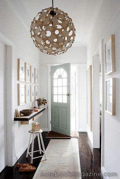 Modern Foyer Design with Creative Decoration:White Foyer Interior With Circular Ceiling Lights And White Doors With Arch Style Plus Black Floating Shelf Unit House Design, Foyer Design, Small Entryways, House, Small Spaces, Interior, Home, New Homes, Modern Foyer