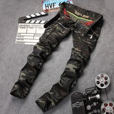High Quality Mens Biker Jeans Famous  Brand Designer Straight Slim