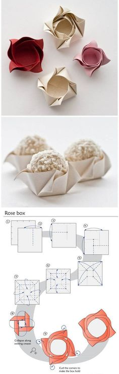 On this page you can view all of my origami instructions in one place! I have many origami video tutorials, boxes, bows, envelopes, hearts and more! Origami Rose Box, Origami Paper, Diy Paper, Paper Art, Paper Crafts, Paper Cups, Paper Boxes, Oragami, Diy Origami