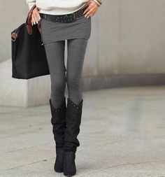 Cover up! Gray jersey mini skirt with gray legging. A more confident and comfortable solution with shorter tips.