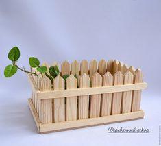 Buy Cache-pot of Wood Fence - beige, silver- Buy Flower pots Fence – beige, wo. Popsicle Stick Art, Popsicle Stick Crafts, Craft Stick Crafts, Wood Crafts, Wood Planter Box, Wooden Planters, House Plants Decor, Plant Decor, Diy Home Crafts
