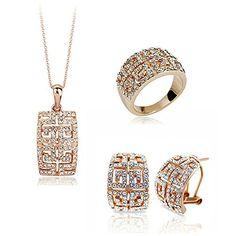 HSG Luxus White Butterfly Halskette Ohrringe und Armband Kristall