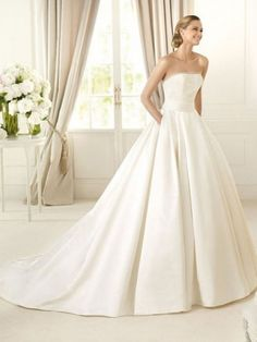 Satin Strapless Ball Gown DeliSilhouettee Beads And Sequin Bodice Wedding Dress at Millybridal.com