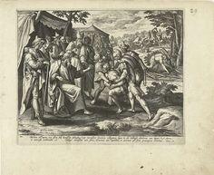 """Adriaen Collaert   Bestraffing van de overtreder van de sabbat: het derde Gebod, Adriaen Collaert, Philips Galle, 1585 - 1589   Een man die tijdens de sabbat hout was gaan sprokkelen voor een vuur wordt voor Mozes gebracht (Numeri 15:32-36). Dit is een schending van het derde Gebod: """"Gedenk de Sabbat."""" De man wordt veroordeeld tot de dood door steniging. De prent heeft een Latijns onderschrift. De prentserie beeldt de Tien Geboden uit door middel van scènes van het Oude Testament."""