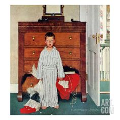 """""""TRUTH ABOUT SANTA"""" OR """"DISCOVERY"""", December 29, 1956 by Norman Rockwell. Giclee Print from Art.com, $29.99"""