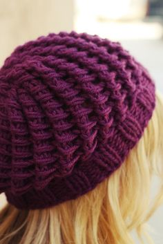 Really cool knitted stitch....I want to do this hat for myself!!!