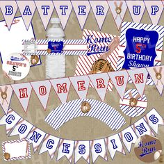 Mini Baseball Party Package Decorations Favors by thatpartygirl