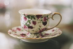 Pretty Floral Teacup and Saucer Set