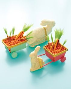 Create a candy-laden caboose fashioned from a berry basket, wooden wheels, dowels, and a drinking straw. In twos or threes, these bunnies also work as Easter-table centerpieces.