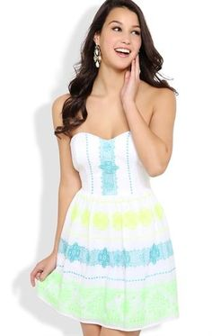 Deb Shops Strapless #Dress with Neon Embroidery Details and Open Back $31.43