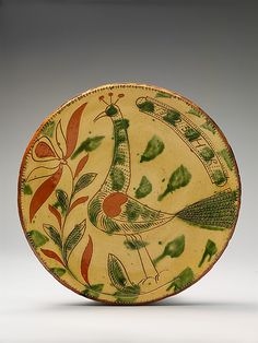 Plate, Possibly Heinrich Roth (active ca. 1790–1810) , 1793, Pennsylvania, United States, Earthenware; Redware with sgraffito decoration