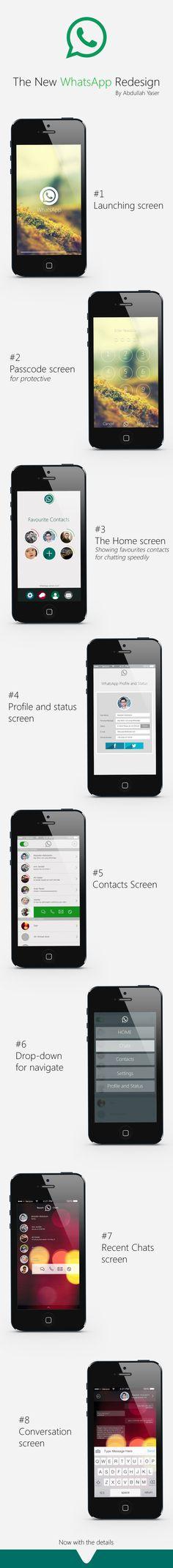 WhatsApp Redesign by Abdullah yaser, via Behance