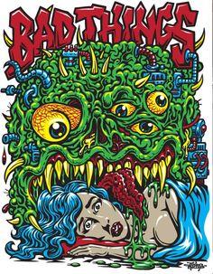 Arte Horror, Horror Art, Arte Zombie, Stoner Art, Bright Art, Skate Art, Graffiti Murals, Lowbrow Art, Monster Art