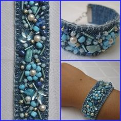 beaded denim bracelet