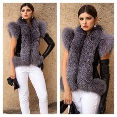 Fur Vests, Fur Clothing, Fur Fashion, Fur Collars, Leather Gloves, Fur Trim, White Jeans, Cuffs, Fur Coat