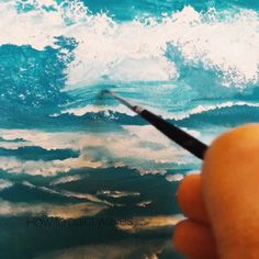 How to paint waves the easy way! - The AdelesElectricRays™️ Painting easy Painting ideas Painting water Painting tutorials Painting landscape Painting abstract Watercolor Painting Acrylic Painting Techniques, Painting Videos, Art Techniques, Cute Paintings, Seascape Paintings, Ocean Art, Beach Art, Watercolor Paintings, Watercolor Clouds