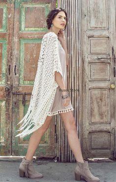 Kori Umgee Crochet Fringe Knit Cardigan Kimono Bohemian Cover Up Hi Lo Cream NEW #KoriUmgee #Cardigan #Casual