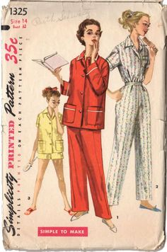 Vintage 1950s Teen Girls Simplicity Sewing Pattern 1325 Pajama Pants Shorts Bust 32 Hip 35