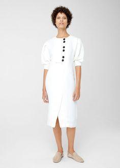 Linen-blend midi dress   MANGO