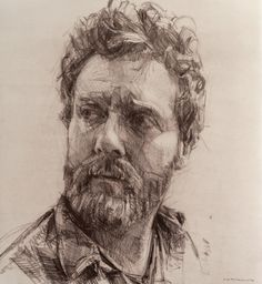 head study - Colin Davidson, using Brown paper, pencil and perhaps charcoal.