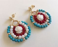 Red white and blue Patriotic Earrings These beautiful round shaped earrings are made with 4mm turquoise beads, genuine coral and mother of pearls beads, 4mm gold filled beads and gold filled findings.