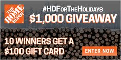 Contest: 10 Win $100 Home Depot Gift Cards :: http://www.heyitsfree.net/contest-10-win-100-home-depot-gift-cards/