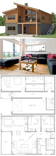 Modern Home Plans, Hillside House Plans New House Plans, Modern House Plans, Small House Plans, House Floor Plans, Small Floor Plans, Hillside House, Container House Plans, House Layouts, House Architecture
