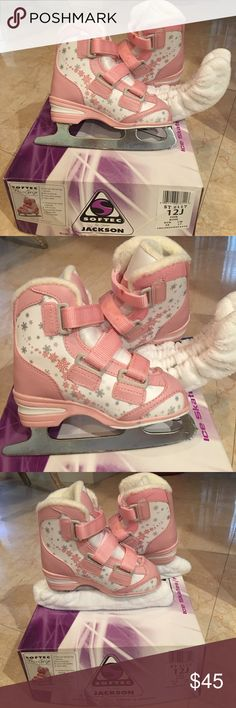 Softer Tri-Grip Ice Skatins and Blades Softer Jackson Children Skate and blades. Color Pink Rose - Size 12J Jackson softec Shoes