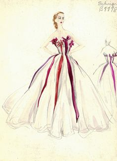 Elsa Schiaparelli Gown fashion illustration. Strapless white evening gown with red, purple and red-orange ribbon trim. Includes back view in pencil. Bergdorf Goodman 1950s.