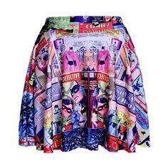 2015 Saia Feminina Women Fashion Elastic Sexy Comic Batman Skater Black Pleated Skirt Sexy Digital Skirts Saias De Renda
