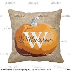 Rustic Country Thanksgiving Pumpkin Family Name Throw Pillow