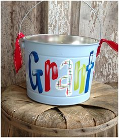 Easter Bucket, Personalized, Hand-Painted, Tin, Pail, Easter Pail, Airplane, Boy, Boy Easter Basket    This adorable little bucket is hand-painted